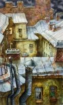 Анастасия Денисова - Перед дождем, 2019 (бумага, акварель, карандаши)