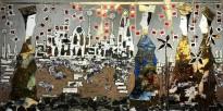 Андреа Стелла — Возвращение короля, 2018 (гипсовый левкас, натуральные краски, суальное золото, картон, стекло, окисление)