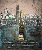 Андреа Стелла — Возвращение на закате, 2018 (гипсовый левкас, натуральные краски, суальное золото, картон, стекло, окисление)