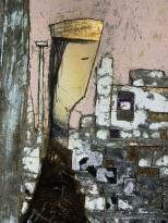 Андреа Стелла — Возвращение на закате, 2018 (гипсовый левкас, натуральные краски, суальное золото, картон, стекло, окисление) фрагмент
