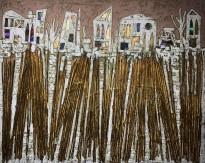 Андреа Стелла — Древние городки, 2018 (гипсовый левкас, натуральные краски, суальное золото, картон, стекло, окисление)