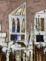 Андреа Стелла — Древние городки, 2018 (гипсовый левкас, натуральные краски, суальное золото, картон, стекло, окисление) фрагмент