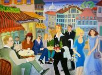 Анна Каждан — Летнее кафе, 2007 (холст, темпера)
