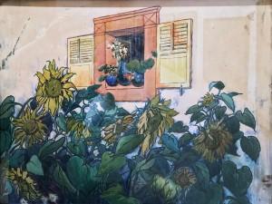 Лев Бакст - Подсолнухи под окном, 1906 (бумага, смешанная техника)