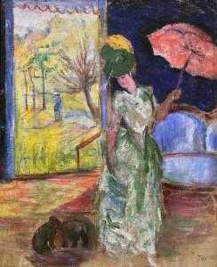 Наталия Гончарова - Дама с зонтиком, ок. 1905 (холст, масло)