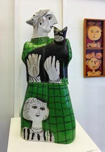 Александр Задорин - Черный кот, 1985 (шамот, цветные глазури)