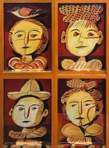 Александр Задорин - диптих 'Лица', левая створка, (дерево, темпера, лак), 1991