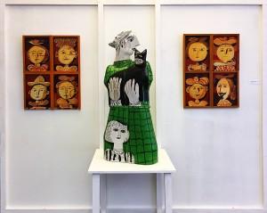 Александр Шаморин - Черный кот и Лица (диптих), 1985 (шамот, дерево, темпера, лак, цветные глазури)