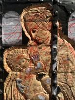 Чжань Хуань - Мой Зимний Дворец №1, 2019 (шелкография, резьба по деревянной двери) фрагмент