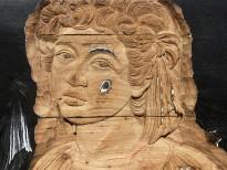 Чжань Хуань - Мой Зимний Дворец №2, 2019 (шелкография, резьба по деревянной двери) фрагмент