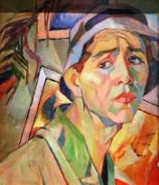 А. Дейнека - Автопортрет в панаме, 1920 (картон,масло)