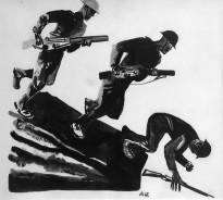 А. Дейнека - Иллюстрация к роману А. Барбюса 'Огонь', 1928 (бумага, черная акварель, тушь)
