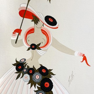 Роман Тыртов (Эрте) — Апрель в Париже (эскиз для театральной постановки), 1920-е (бумага, акрил, гуашь).