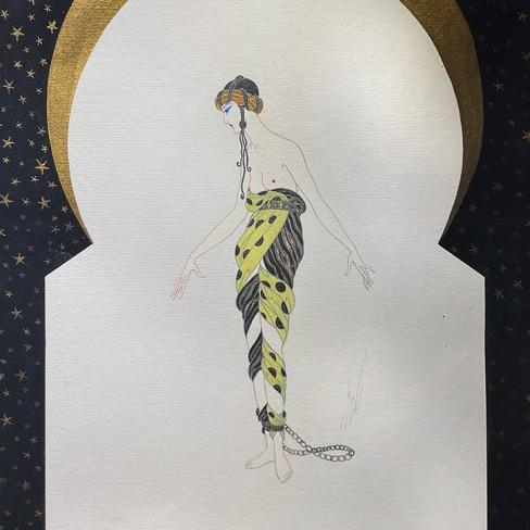 Роман Тыртов (Эрте) — Эскиз для балета 'Шехерезада', 1920-е (бумага, карандаш, акрил, гуашь, тушь).