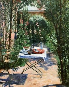 Жоржетт Агютт - Кафе в саду (холст, масло)