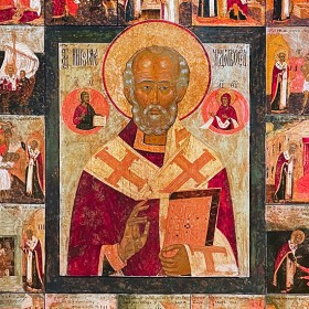 Святитель Николай Чудотворец, с 16 кл. жития (конец XVII — нач. XVIII в.)