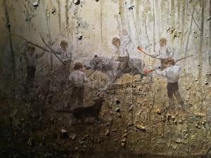 Ярмо Мякиля - Мальчик, превратившийся в оленя у Тайных Ворот II, фрагмент, 2013 (холст, масло)