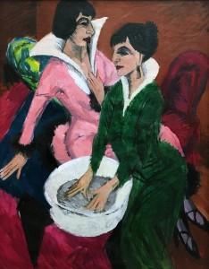 Эрнст Людвиг Кирхнер - Две девушки с умывальником; сестры, 1913 (холст, масло)