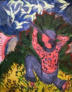 Эрнст Людвиг Кирхнер - Охотник на чаек в лесу, 1912 (холст, масло)