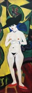 Эрнст Людвиг Кирхнер - Стоящая обнаженная в шляпе (Дорис Гроссе), 1910, 1920 (холст, масло)