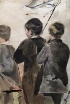 Л. С. Бакст - Мальчики с флагом, ок 1899 г. (бумага, акварель)