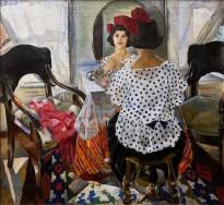 Михаил Демидов - Девушка у зеркала. Портрет Л. Н. Агалаковой, 1924 (холст, масло)