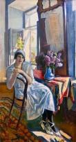 Сергей Луппов - Портрет О. С. Лупповой с сиренью, 1920 (холст, масло) ГРМ