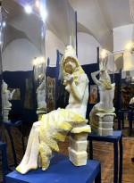 Татьяна Соколова - Девушка с зеркалом, 1976 (шамот, цветная полива)