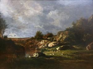 Гектор Аллеман - Пруд Фриньон, 1856 (холст, масло).