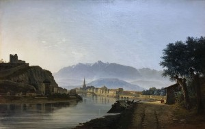 Жан Ашар - Вид на Гренобль с набережной Грейля, 1837 (холст, масло).
