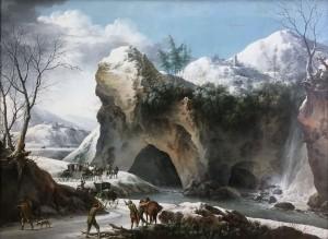 Франческо Фосчи - Горный снежный пейзаж с дилижансом, ок. 1750.