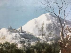 Франческо Фосчи - Горный снежный пейзаж с дилижансом, ок. 1750  (фрагмент).