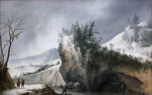 Франческо Фосчи - Снежный пейзаж со скалами и путешественниками, 1750.