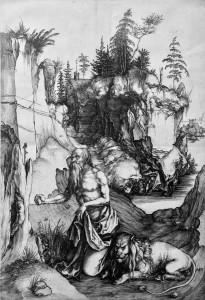 Альбрехт Дюрер - Покаяние святого Иеронима, 1496 (бумага, гравюра на меди)