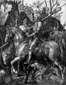 Альбрехт Дюрер - Рыцарь, смерть и дьявол, 1513 (бумага, гравюра на меди)