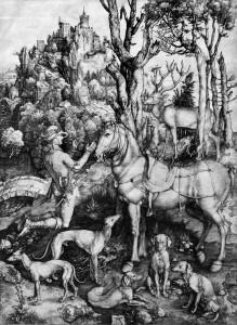 Альбрехт Дюрер - Святой Евстафий, 1501 (бумага, гравюра на меди)