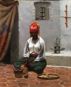 Василий Тимм - Приготовление чая в Алжире, 1840-е (холст, масло)