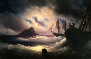 Иван Айвазовский - Гибралтар ночью, 1844 (холст, масло)