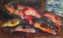 Борис Анисфельд - Рыбы, 1910 (холст, масло)