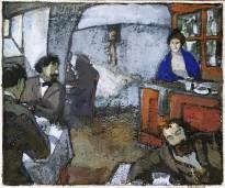 Вениамин Белкин - Кабачок русских художников в Париже, конец 1900-х (бумага, гуашь)