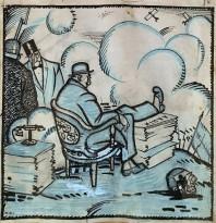 Юрий Анненков - Акционеры, 1910-е (бумага, тушь, цветной карандаш)