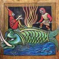 Петр Рейхет — Отдых на ките, 1989 (картон, масляная пастель)