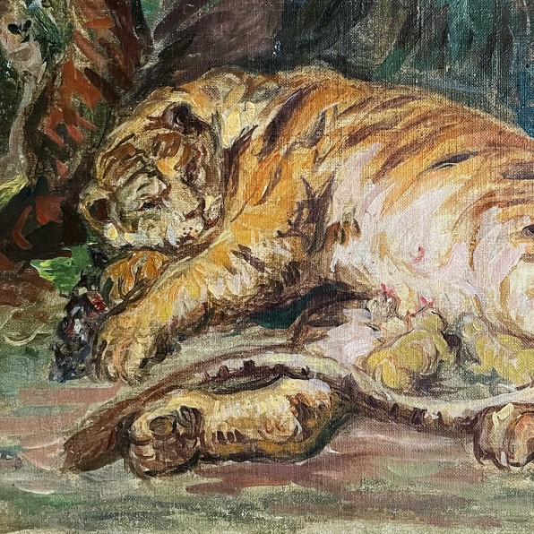 Сергей Романович — Тигрица с детенышами, 1930-е (холст, масло)