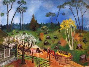 Арон Дейец - Пейзаж с повозкой, 1930