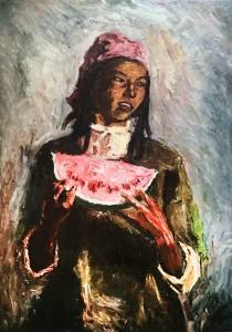 Дитер Вайденбах - Киргизская девочка. По картине Семена Чуйкова, 1960 (холст, масло, 100х70 см)