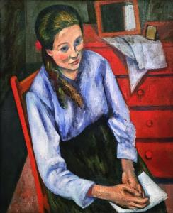Леон Сола - Девушка в голубой блузе, ок. 1925