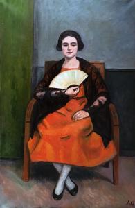 Леон Сола - Женщина с веером, 1925