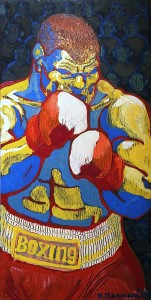 Михаил Гавричков - Боксер, 2001 (фанера, эмаль)
