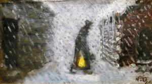 Николай Аструп - Старуха с фонарем, 1907