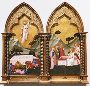 Якобо ди Тионе - диптих Воскресение и три Марии возле гробницы, 1371 (Лондон)